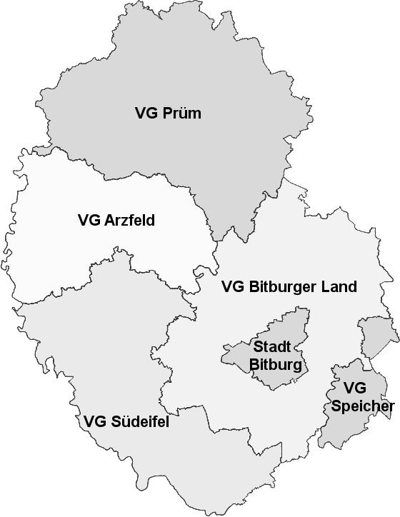Karte Verbandsgemeinden / Städte - Eifelkreis Bitburg-Prüm